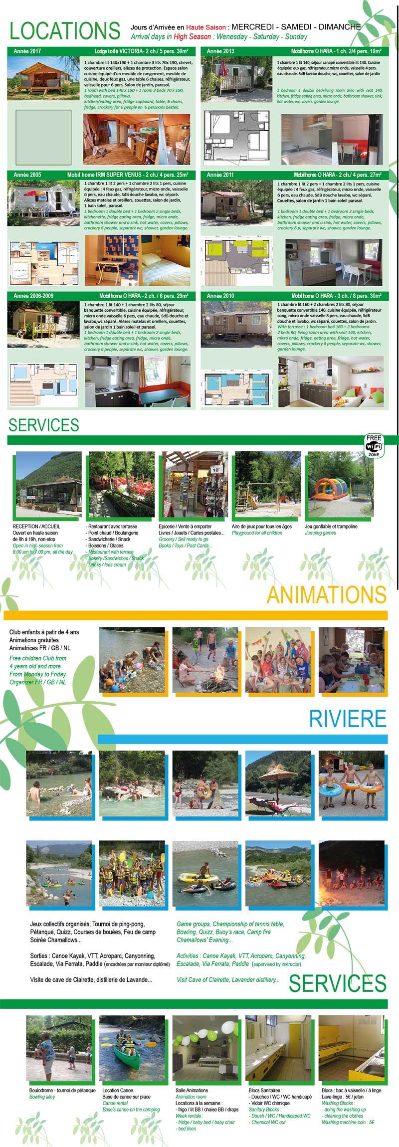 Brochure camping Acacias Drôme
