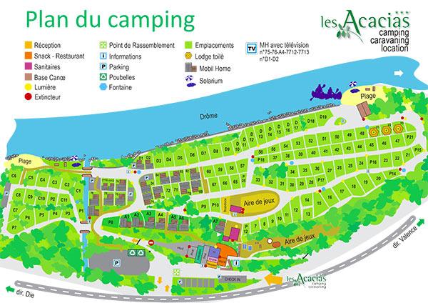 Plan camping Acacias Drôme